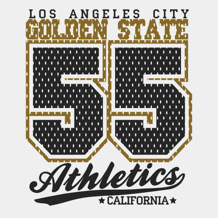 tshirt: California Typography Graphics, T-shirt Printing Design, original wear, Vintage Print for sportswear apparel. Vector Illustration