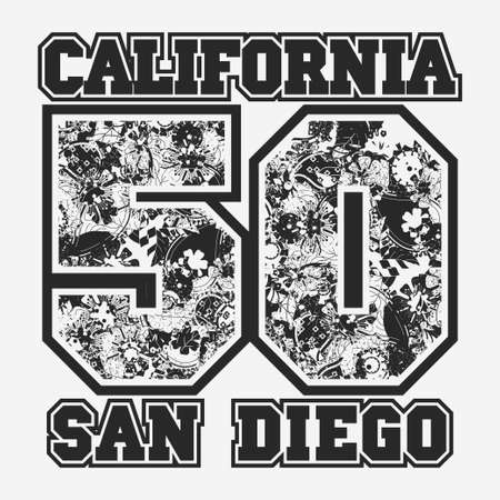 baloncesto chica: Gr�fico de impresi�n de etiquetas de California Camiseta de la tipograf�a de la moda, dise�o deporte emblema, N�mero con adornos florales,