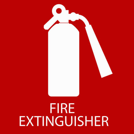 red sign: Fire extinguisher sign, red caution icon. Vector