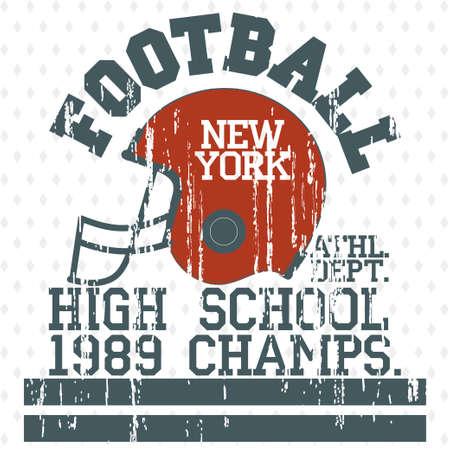 sportswear: Football Athletics Sport Typography, T-shirt fashion design - grunge style graphics, Vintage Print for sportswear apparel. vector