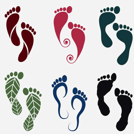 footprint silhouette icons, human footstep set. Vector Vettoriali