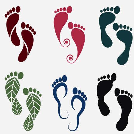 huellas pies: iconos de la silueta de la huella, juego de pisada humana. Vector Vectores