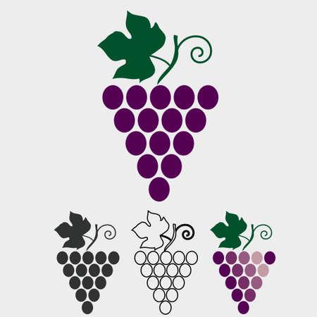 uvas: Racimo de uvas con hoja y del icono del vector rizo