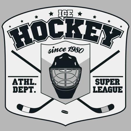 hockey sobre hielo: Hockey Club de Insignia, plantilla Tipograf�a, Deporte gr�ficos de la camiseta. Dos palos de hockey cruzados y un disco