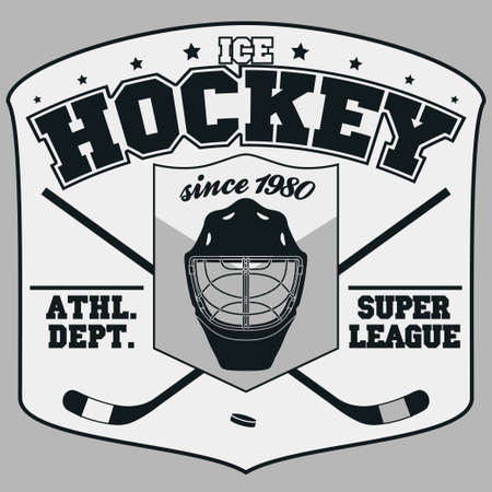 ice: Ice Hockey Club Badge, Typography Template, Sport T-Shirt Graphics. Two crossed hockey sticks and a puck