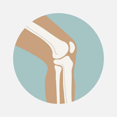 Human knee joint icon, emblem for orthopedic clinic Vectores