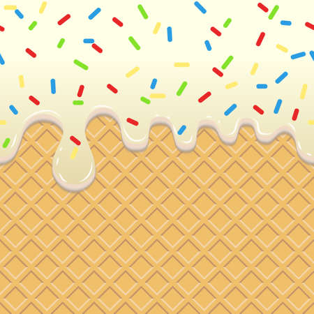 Flowing Ice Cream, Seamless food background. Dripping White Glaze on waffle. Wafer cookie with cream, confectionary yummy. Vector