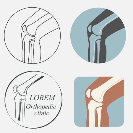 joint: Human knee joint icon set, emblem for orthopedic clinic
