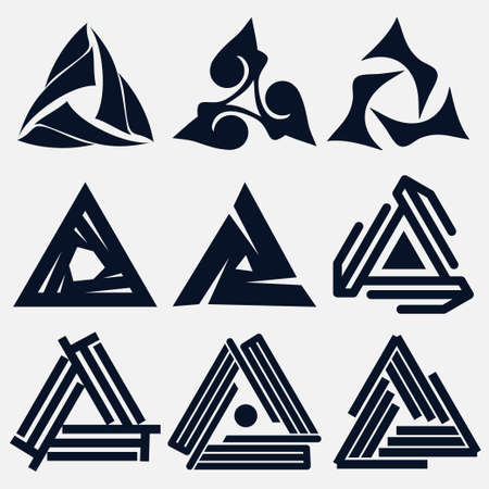 triquetra: Business emblem set, blue knot symbol, curve looped icon - vector illustration
