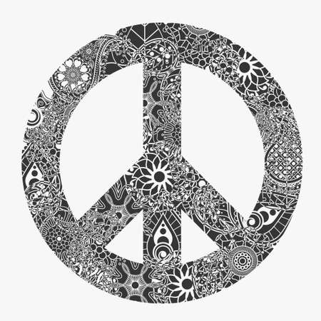Peace symbol, round pacifism sign,  Black and white Floral-grunge art design, Hippie ornamental style.