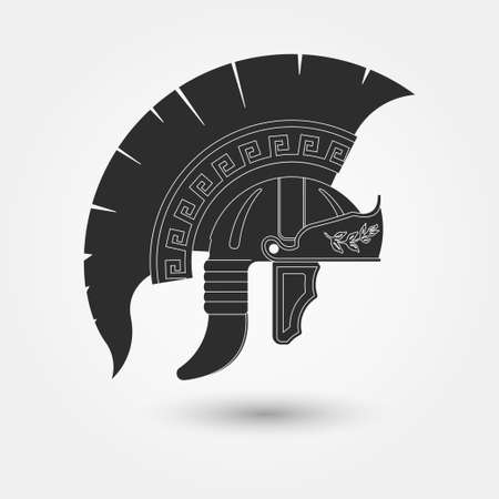 spartan: Greek warrior, Spartan Helmet, Gladiator - legionnaire heroic soldier. vector