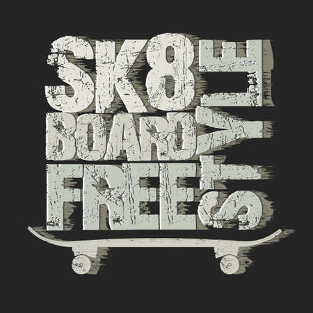 skateboard boy: Skateboarding t-shirt graphic design. Freestyle Skate Board typography, grunge style emblem. vector