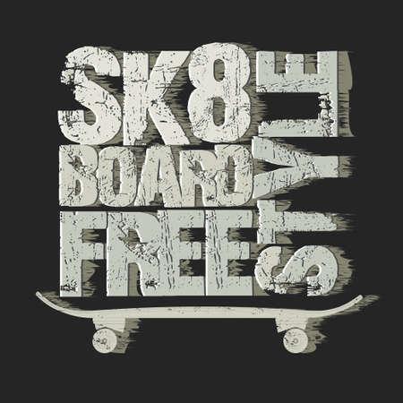 skate board: Skateboarding t-shirt graphic design. Freestyle Skate Board typography, grunge style emblem. vector