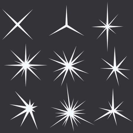 Sparkle lights Stars set. Glowing light effect star bursts collection - vector