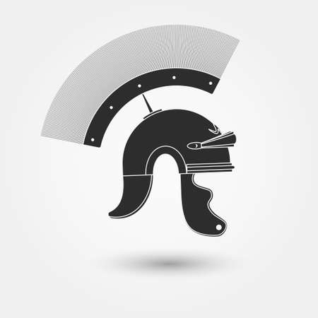Spartan Helmet, Greek warrior, Gladiator - legionnaire heroic soldier. vector Illustration