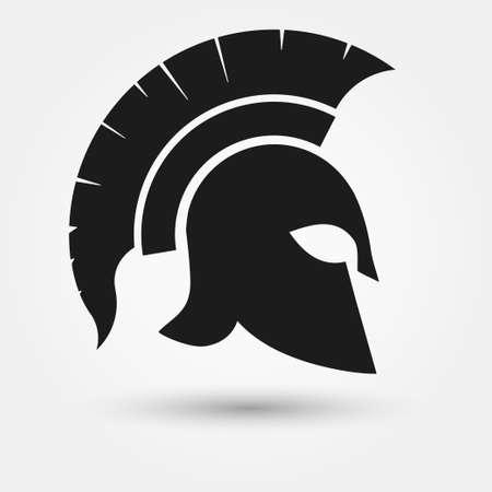 roman: Spartan Helmet silueta, guerrero griego - gladiador, soldado heroico legionario. vector Vectores
