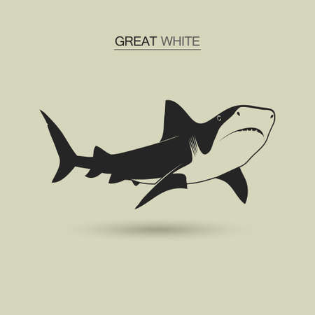 great white: Great white shark emblem, black silhouette. Vector illustration