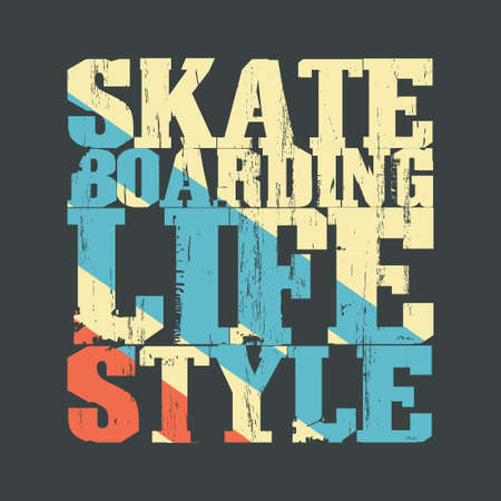 skateboard: Skateboarding t-shirt graphic design. Lifestyle Skate Board typography, grunge style emblem. vector