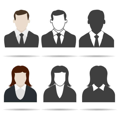 female portrait: User icon set. Human silhouette - business avatar. Vector Illustration