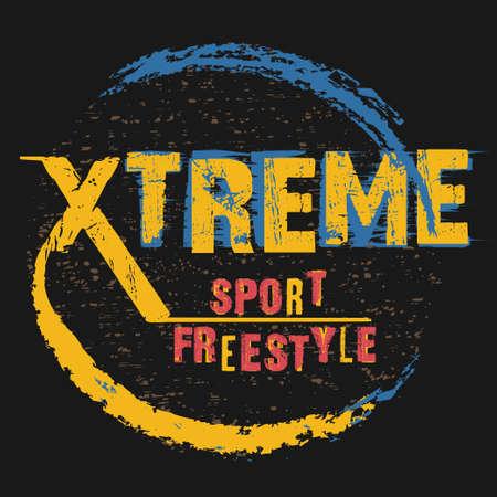 Extreme sport freestyle Typography emblem, t-shirt design, vintage graphic print. vector