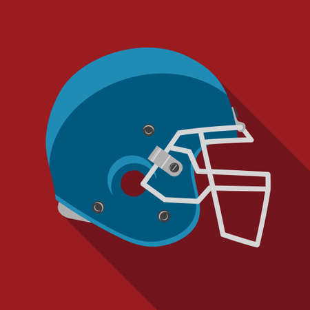 canadian football: American football helmet, sport icon with long shadow. flat design. vector Illustration