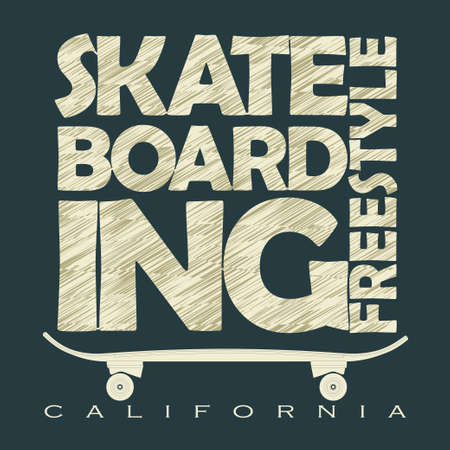 skate board: Freestyle Skate Board typography, Skateboarding t-shirt graphic design, grunge style emblem. vector Illustration
