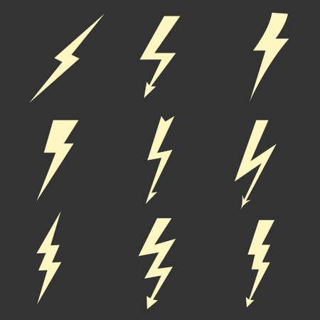 thunder and lightning: Thunder Lightning flat icons set, bolt zigzag symbol, flash and arrow, danger light power sign. Vector