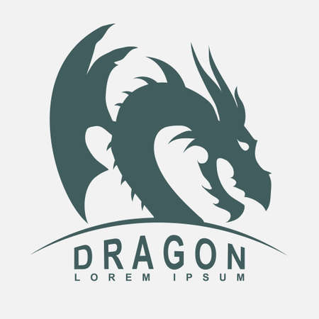 flying dragon: Dragon head with a wing silhouette - business emblem. Vector Illustration