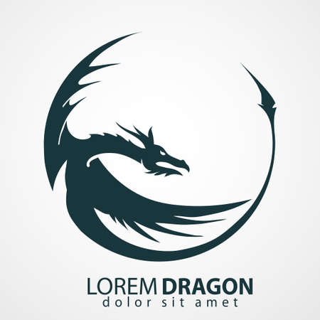 flying dragon: Chinese dragon head silhouette - company emblem. Vector