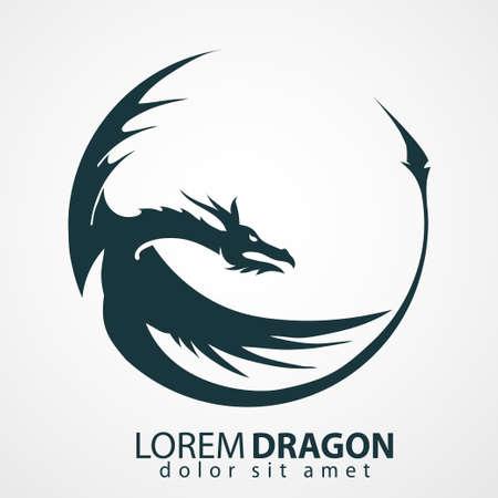dragon: Chinese dragon head silhouette - company emblem. Vector