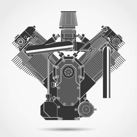 maschinenteile: Motorcycle engine, car motor machine parts, engineering gear technology. Vector