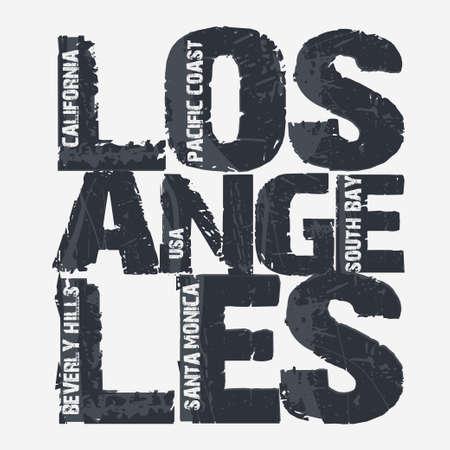 Los Angeles City Typografie Graphics, Californië T-shirt design. vector illustratie Stock Illustratie