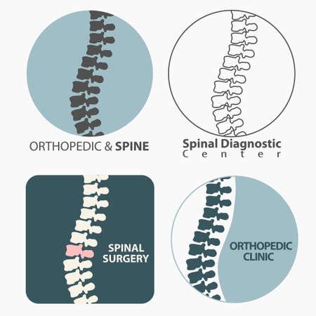huesos humanos: Centro de diagn�stico para la columna vertebral, medicina, dise�o del s�mbolo cl�nica, la espina dorsal de la silueta del vector emblema