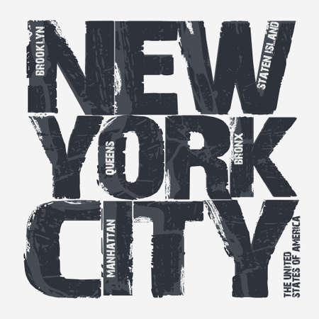 New York City Typography Graphics, Brooklyn T-shirt design. vector illustration Vectores