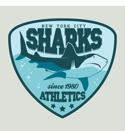 great white: Great white shark sport emblem, team symbol. Vector