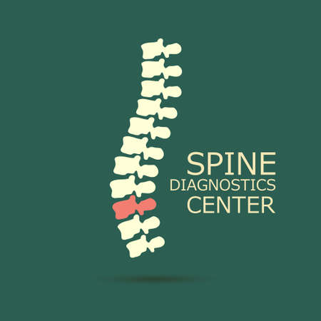 espina dorsal: Centro de diagnóstico para la columna vertebral, medicina, diseño del símbolo clínica, la espina dorsal de la silueta del vector emblema
