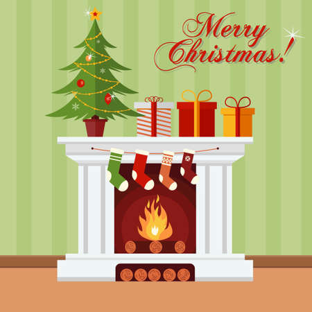 Christmas tree, gifts and stockings on a fireplace. Xmas greeting card