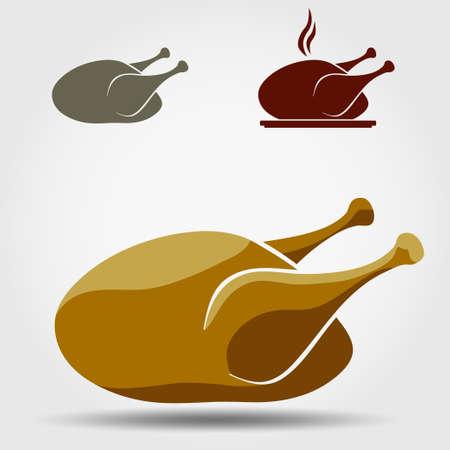 turkey hen: Chicken vector icon. Poultry meat. Hen bird. Hot turkey Illustration
