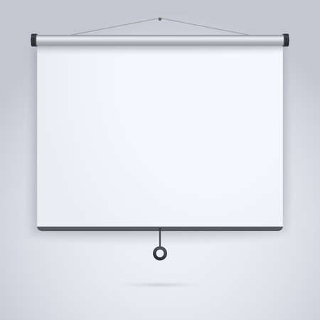 visual screen: Empty Projection screen, Presentation board, blank whiteboard for conference Illustration