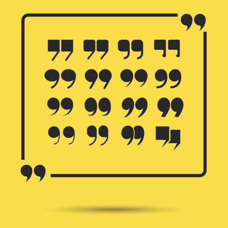 citation: Citation quote marks set, speech bubble. Message, double quotes vector symbols