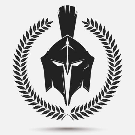Spartan Warrior silhouette con corona di alloro, cavaliere casco, icona gladiatore. Vettore Vettoriali