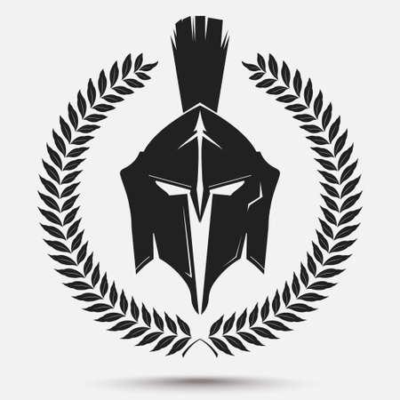 rycerz: Spartan Wojownik sylwetka z wieńcem laurowym, Rycerz kasku, ikona gladiator. Wektor
