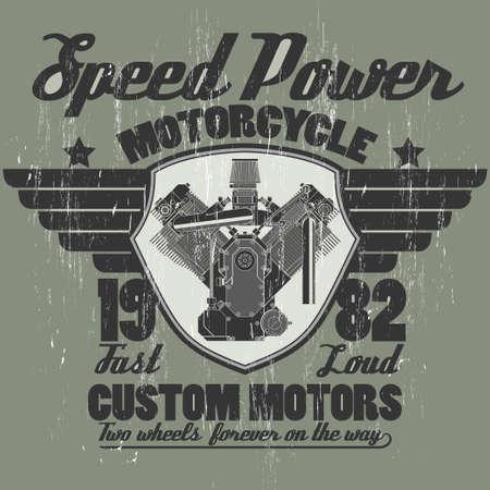 motor race: Motorfiets motor, techniek toestel technologie, motor winkel print logo, riders team embleem grafisch ontwerp. Vector Stock Illustratie