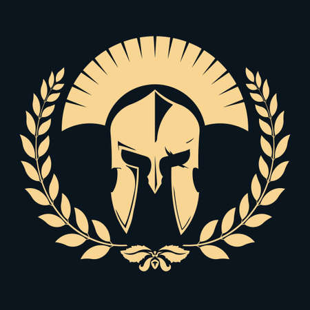 Knight silhouette with laurel wreath, Spartan Warrior, gladiator  icon. Vector  イラスト・ベクター素材