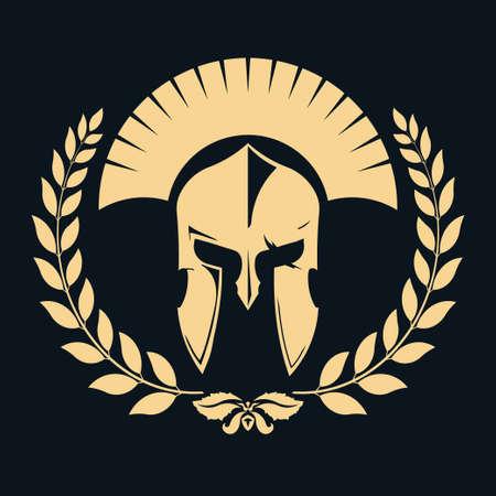 warrior: Silueta de Caballero con corona de laurel, Spartan Warrior, icono gladiador. Vector