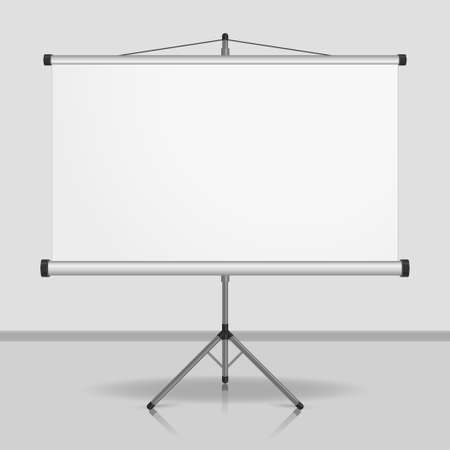 Presentation screen, blank whiteboard, tripod projector for seminar