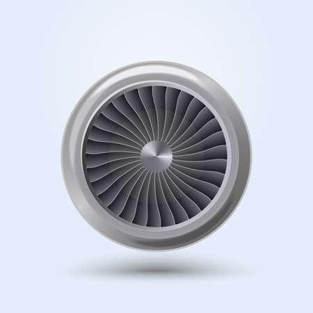 turbina: Jet Engine vista frontal realista, ventilador de la energía de la turbina del avión. Vector