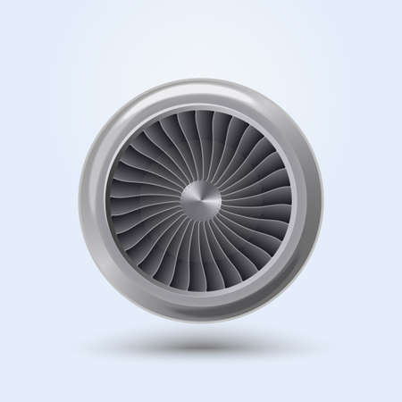 Jet Engine Realistic front view, aircraft turbine energy fan. Vector Vettoriali