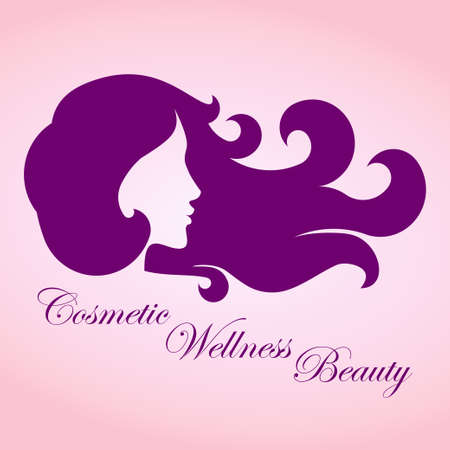 femininity: Beauty girl with curly hair, business sign template for beauty industry, cosmetic salon, concept of femininity, icon, avatar, insignia, label, badge