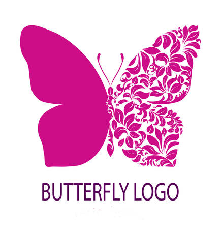 Butterfly logo. Purple butterfly with patterned wing, icon, avatar, flower style, spa beauty salon logotype, insignia, label, badge, floral design template for your business